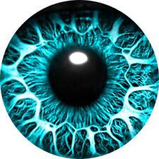 2Pcs HANDMADE Fantasy Photo Glass Eye ball Cameo Cabochon Cab 20mm Blue DIY #03