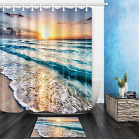 Sunset Ocean Beach Polyester Waterproof Bathroom Shower Curtain Mat Set  CN