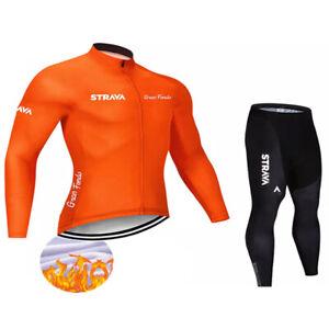 Winter Thermal Fleece Set Cycling Clothes Men's Jersey Suit Sport Riding Bike