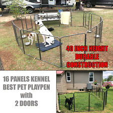New listing 16 Panels with 2 Gate Dog Pen Playpen Folding Extra Large Pet Exercise Kennel
