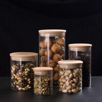 Glass Kitchen Storage Jar Airtight Sealed Food Preserve Cans Tank w Bamboo Lid