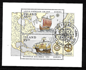 Iceland  ..1992 .. Voyages of Discovery in America ..  Mini-Sheet ,  .. 5048