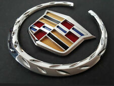 "6"" Front Grille 3D Logo Emblem Chrome Cadillac Wreath Crest Badge Sticker US"