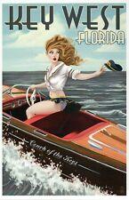 Boating Pinup Girl Key West Florida, Motor Speed Boat, Captain Hat FL - Postcard