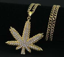 "18k Gold Marijuana Weed Pot Iced Out Pendant 30"" Cuban Link Necklace Cannabis"