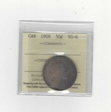 **1908**, ICCS Graded Canadian Silver 50 Cent, **VG-8**