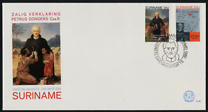 Surinam 598-9 on FDC - Beatification of Father Petrus Donders, Map