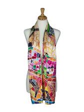 AamiraA Mosaic Designer Mulberry Satin Silk Stole Women Scarf Free Shipping