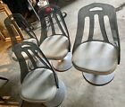 Vintage Set Of 4 Smoke Lucite Transparent Swivel Chairs, Vinyl Seats, Metal Base