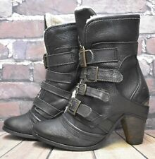 Womens River Island Black Leather Buckle Up High Heel Ankle Boots UK 6 EUR 39