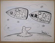 Dessin Illustration JAC FAURE Scène Humoristique Cosmonautes Pompidou Debré
