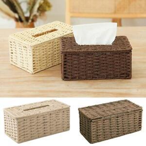 Rattan Tissue Box Vintage Napkin Holder Case Clutter Storage Cover Desk Decor