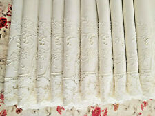 "10 Elegant Ivory Napkins Cutwork Embroidery & Wide Lace Large 23 1/2"" x 24 1/2"""