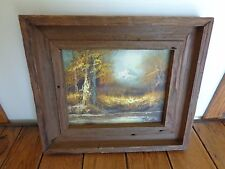 """Vintage F HOLZER Oil Painting Rustic Wood Frame Mountain Scene 12.5"""" x 14.5"""""""
