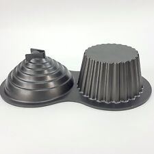Wilton Non Stick GIANT 3D Cupcake Cake Mold Baking Pan Heavy Duty Pro-Baking 2pc