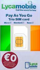 NEW, Lycamobile IRISH, PREPAID SIM card. NANO, MICRO or STD size. IRELAND. €0.