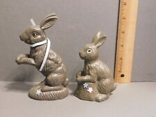2 Vintage Brown Resin Faux Chocolate Easter Bunny Rabbit Figurines