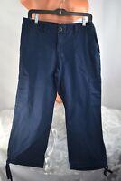 CARIBBEAN JOE (8 M) Cargo Capri Pant Flat Front Drawstring Tie Hem NAVY BLUE