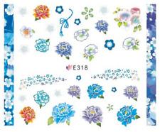 Nail Art Sticker Water Decals Transfers Blue Flowers (E318)