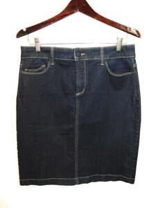 NYDJ 10P Blue Jean Denim Pencil Skirt Knee Pockets Straight 10 Petite P10