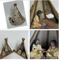 Vintage Decorative Native Indian Leather Teepee Figurine Squaw Warrior