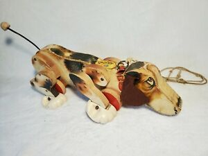 Vintage Fisher Price Snoopy Wooden Pull Toy