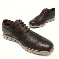 COLE HAAN Grand Os Zerogrand Oxford Wingtip Brown Leather Men's Shoe Sz 9.5M EUC
