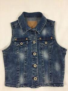 Amethyst Womens Juniors Small Blue Cotton Blend Stretch Denim Jean Vest