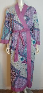 Soft Surroundings Purple Floral Kimono Robe XLP PXL Cotton Belt Long Length