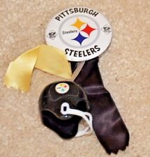 vintage PITTSBURGH STEELERS pin button w/ ribbons & mini gumball football helmet