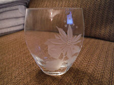 "Mikasa Clear Glass 6"" Flower Poinsettia Etched Engraved Bud Vase"