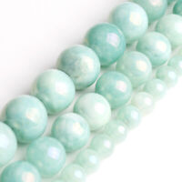 Hot Pure Natural Cyan Angelite Stone Bead  Strands Jewelry Loose Beads 6mm 10mm