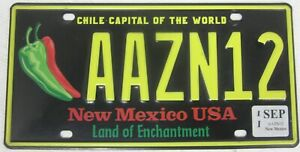 NEW MEXICO CHILE licence/number plate US/United States/USA/American AAZN12