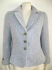 ARMANI COLLEZIONI TWEED JACKET BABY BLUE & PINK 3 BUTTON FRONT MADE IN ITALY 8