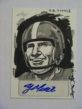 2012 Leaf Hand Drawn Sketch Card YA Tittle NY Giants LSU Auto 1/1