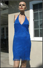 JUNIORS JESSICA MCCLINTOCK GUNNE SAX BLUE HALTER SEQUIN PROM FORMAL DRESS SIZE 5