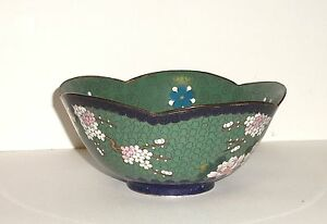 FLORAL BLOSSOMS CLOISONNE GREEN ENAMEL INABA BOWL SIGNED