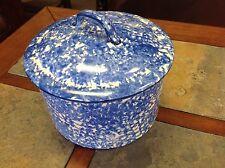 Stengl Pottery Spongeware Spatterware Covered Casserole Blue