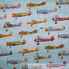 BonEful FABRIC FQ Cotton Quilt Blue Map USA Military Jet Air Force Air*Plane USA