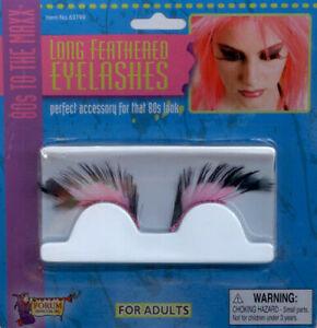 Eyelashes Pink & Black Long Feathered Glitter Fun Costume Eyelashes