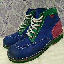 VTG Kickers Boots Womens Size 8 Nubuck Three Color Lace Up Ankle Blue Green Pink