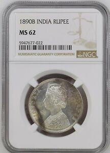 1890 B British India Empress Victoria Silver Rupee NGC MS 62