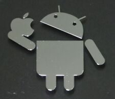 android apple metalissed chrome efect sticker logo badge 35 mm x 35 mm