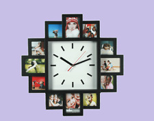 Black Plastic Modern Stylish Wall Clock With 12 Family Photo Frame Picture Frame