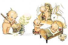 Vintage Image Kewpie Kewpies Dusting Sleeping Bunny Waterslide Decals KID512