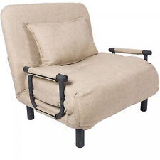 Beige Single Sleeper Convertible Chair Living Room Lounger Futon Sofa Couch