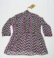 Black Metall Damen-Bluse Chiffon pink schwarz weiß Rüschchen Gr. 36 38 NEU!