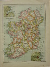 1902 ANTIQUE MAP ~ IRELAND DUBLIN BELFAST TYRONE CONNAUGHT MAYO KERRY CORK