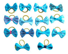 10Pairs Assorted Pet Dog Cats Hair Bows W/Rubber Bands Dogs Jewelry Grooming