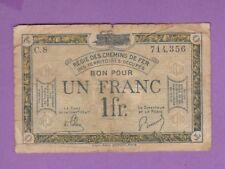 (Ref. C08) 1 FRANC REGIE DES CHEMINS DE FER SARRE (R5 TRES RARE)  Type 1917